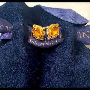 Konstantino Citrine Stud Earrings Silver-18K Gold